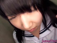 Petite japanese teen in panties fingered