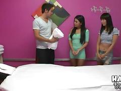 Asian massage therapist team up to give this guy a happy ending