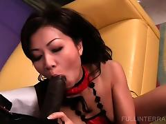 Asian goes from sucking to fucking black dick