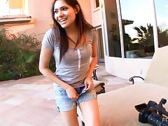 Amateur Latina cowgirl with long hair fingering her asshole outdoors