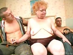 Amateur granny stuffed with a couple of huge johnsons