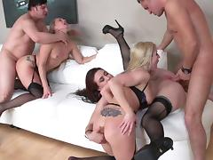 MILF sluts in sexy lingerie get fucked hard in this orgy party