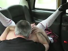 Amateur girl sucked and fucked cock for a free taxi fare