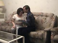 young & energetic brunette fucked by old producer's friend