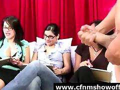 Public display of cock for group of amateur CFNM girls