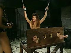Gorgeous Slave In BDSM With Long Hair Getting Spanked