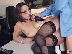 Hot secretary shows her boss why he hired her in the first place