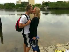 Mom and Boy, 18 19 Teens, Blonde, Blowjob, Kissing, Mature