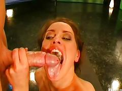 Brunette jerking off and fills mouth with cum