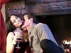 Busty brunette chick gets drunk before dildo fucking her cunt