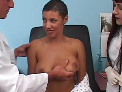 Sasha sucks cock and gets her pussy banged in doctor's office