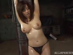 Guys cannot keep their hands off her huge natural Japanese tits