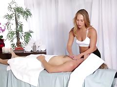 A real blonde masseuse can't resist a hot stud's dick