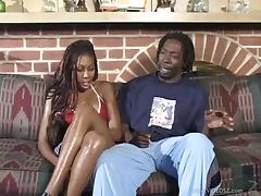 Affectionate ebony in bikini yelling while her anal is screwed hardcore