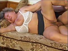 Amateur granny with huge melons sucks off and rides a hard cock
