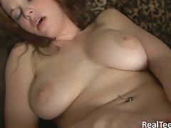 Dashing redhead with long hair screwing her asshole with a toy