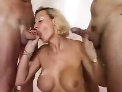 Busty Blonde Grandma In A Threesome