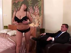 Curvy cougar with big tits giving big dick titjob before getting smashed hardcore missionary