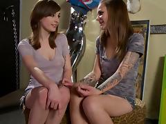 Tattooed lesbian teens rub hard each other's beavers