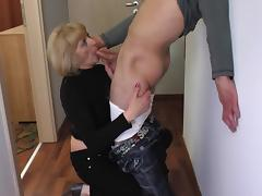 Mom and Boy, Blonde, Blowjob, Mature, Old, POV