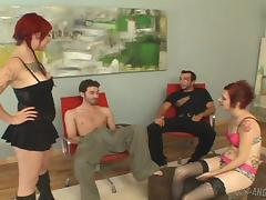 Tattooed punk bitches fuck hard in a hot group sex