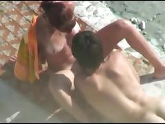 Nude Beach - Tan Line Redhead Suck & Fuck
