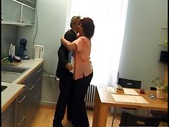 A younger stud lays the pipe to a horny granny in the kitchen