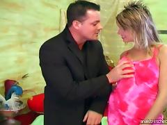 Face fucking and analy penetrating a slut in a pink dress