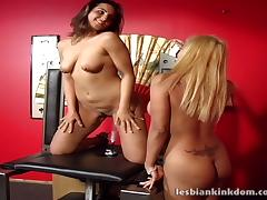 Lesbian hotties ride a wild fuck machine until they cum