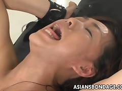 Wild Asian chic in bondage is into BDSM sex