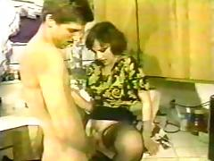 Old footage of a couple fucking hard in their kitchen