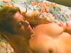 Stunning cougar with long hair giving her horny guy blowjob in retro shoot
