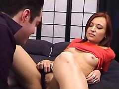 Amateur redhead chick lets a guy lick her shaved pussy and toy it
