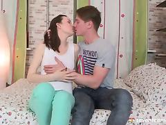 Sucking teen nipples excites the girl to ride his dick