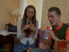 June in hot chick wore stockings while having anal sex