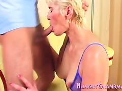 Mom and Boy, Blonde, Blowjob, Granny, Hardcore, Horny