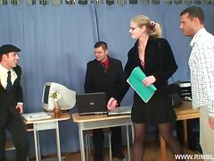 Blonde intern gets fucked by a couple of coworkers