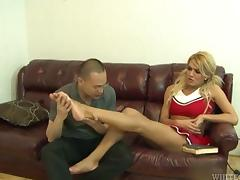 Seductive shemale enjoying a foot fetish before having her dick sucked passionately