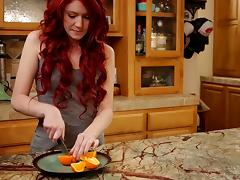 Redhead on the kitchen counter dildo fucking in socks