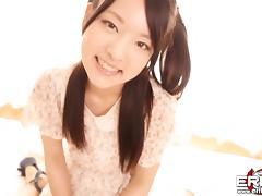 Japanese cutie Mikako sucks and rides her hairy twat on cock