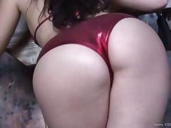 Brunette in bikini swallows cum after showing ass and fixed doggystyle