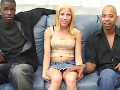 Patience Right with natural tits gives double blowjob and bonked in interracai threesome