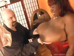 Ebony cougar with big nipples swallows cum after giving nice blowjob