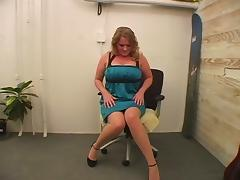 Wearing hight heels while dildoing her chubby snatch