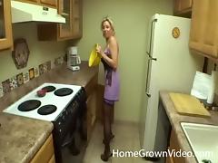 Visiting a blonde MILF in the kitchen just to fuck her