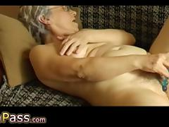 OmaPass Senior with hairy pussy masturbating