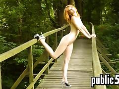 Naked Redhead Shows Off Outdoors In Public