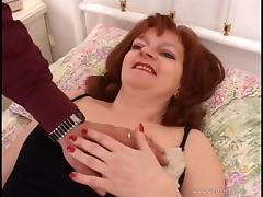 Bosomy mature redhead gets her coochie and asshole properly fucked