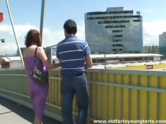 A crazy couple gets buck wild and fucks on a highway overpass