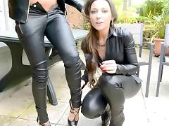 Leather, Amateur, Femdom, Friend, Kissing, Leather
